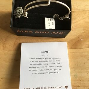 Alex And Ani  Sister Forever Charm Bangle Silver